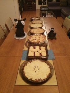 Seven Pies. Unicorn and Bat proudly guard them.