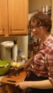 This is the face you make when you're chopping raisins and your friend is laughing at you.  As a bonus, my long underwear are riding up over my girdle, making me appear pregnant. I am not pregnant, don't get excited.