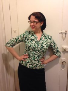 Green and black 1940's style blouse and skirt