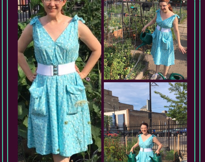 Collection of images of Megan wearing light blue popover dress in the garden