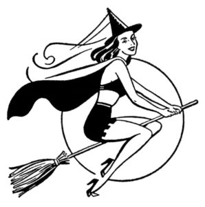 Print art of a fancy witch flying on a broomstick wearing a cape and a bikini. Maybe it's underwear.