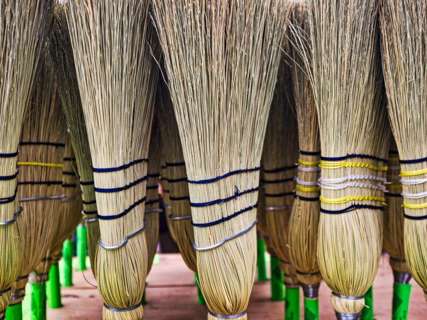 Many upright straw brooms.