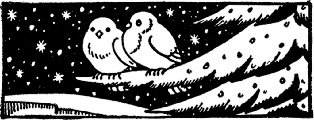 Two cozy birds from a 1940s printing catalog, via The Graphics Fairy